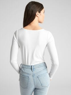 Featherweight Ribbed Long Sleeve Scoopneck T Shirt by Gap