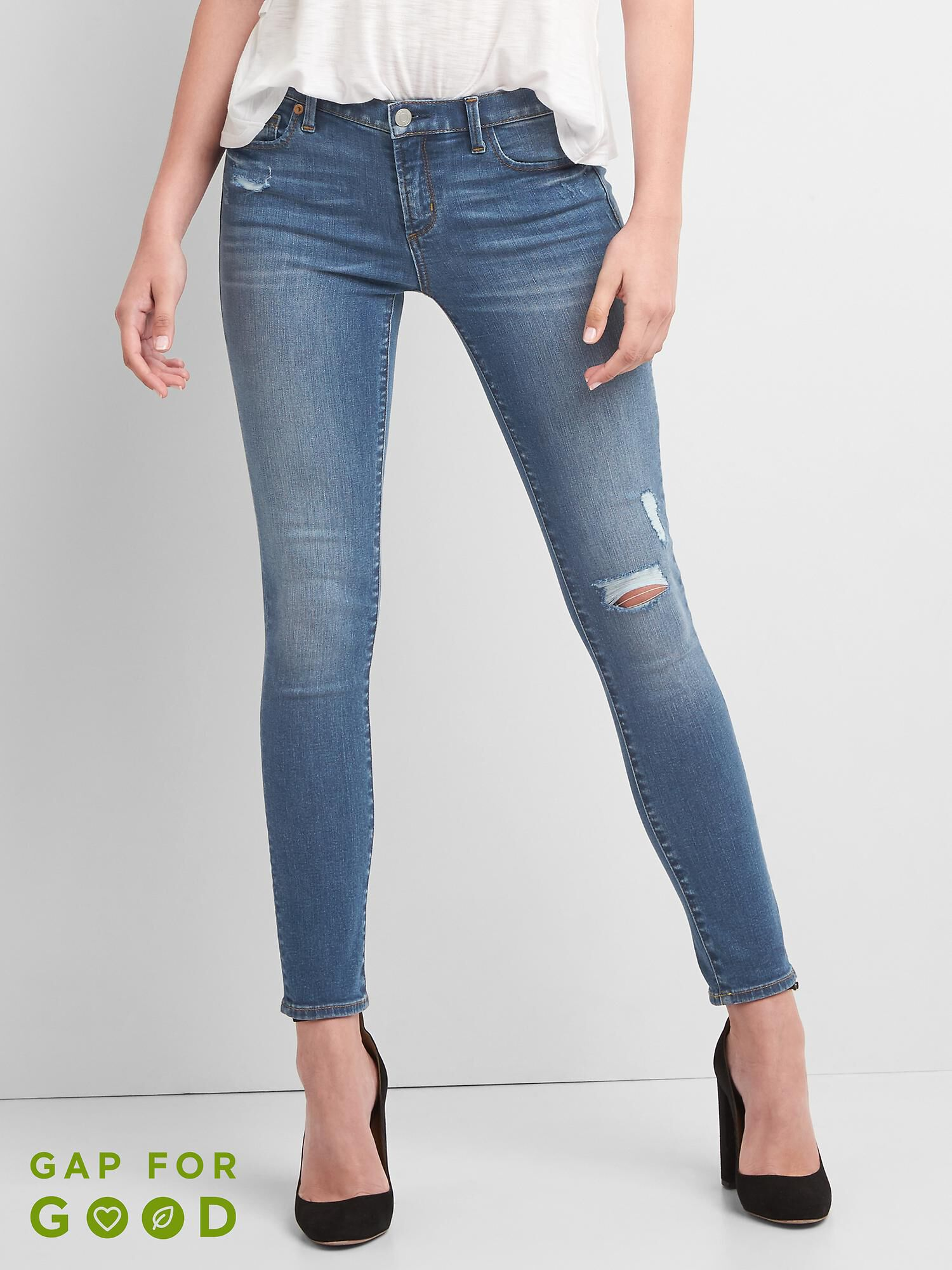 Low Rise True Skinny Jeans with Destruction
