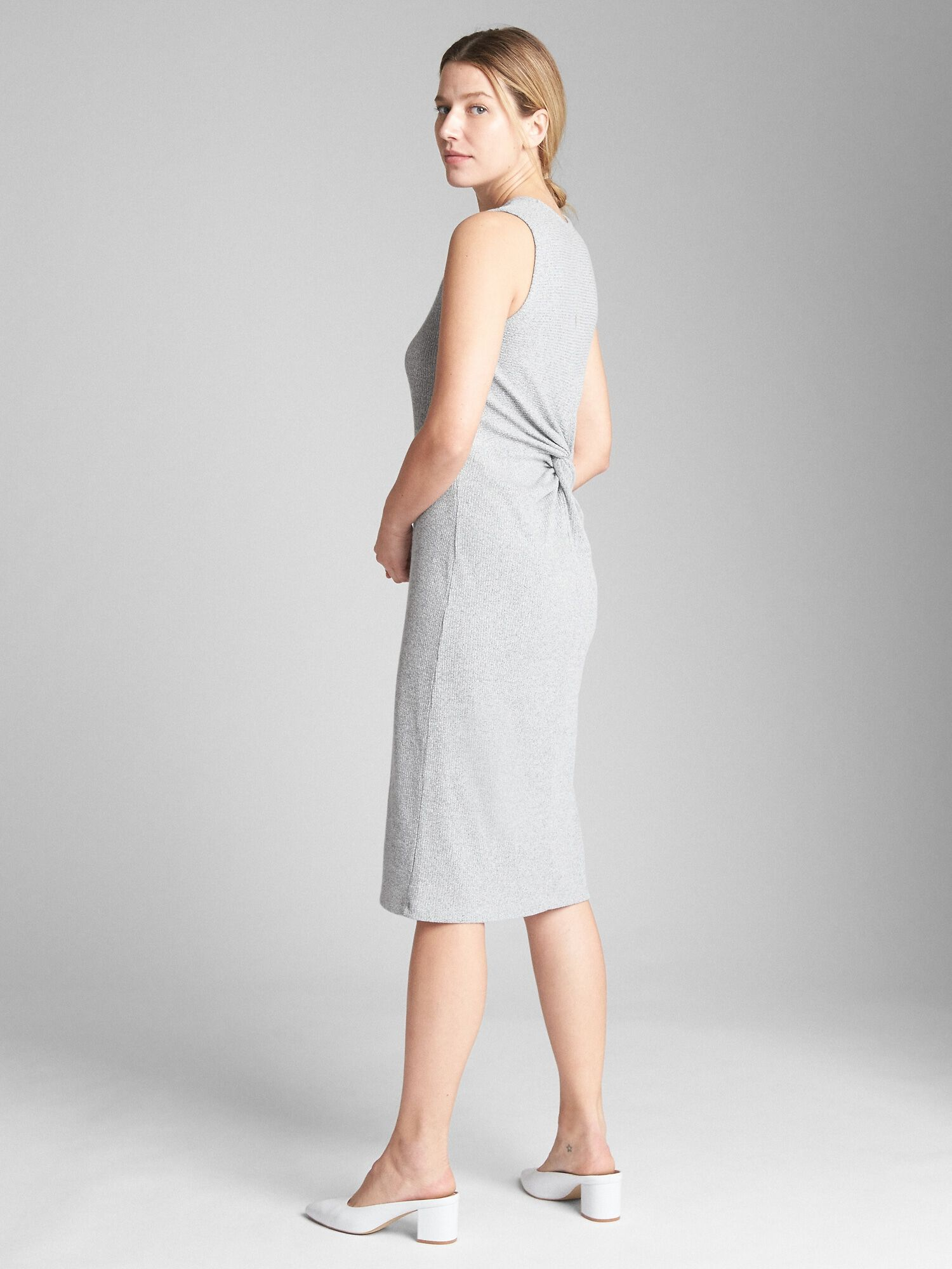 Ribbed Softspun Midi Tank Dress with Twist-Knot Back  596760d86