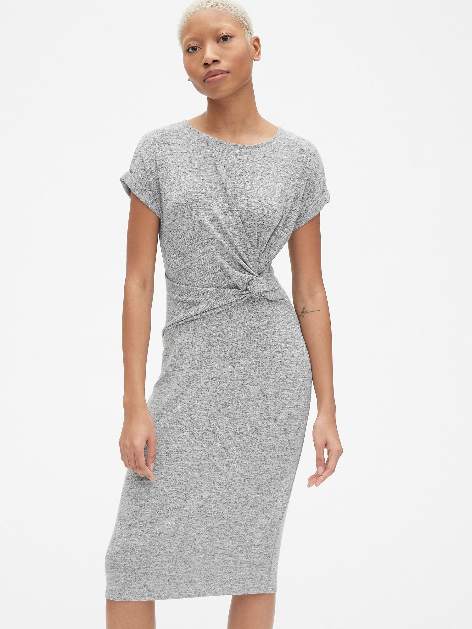 7929dfa163fa Softspun Short Sleeve Twist-Knot Midi Dress | Gap® UK