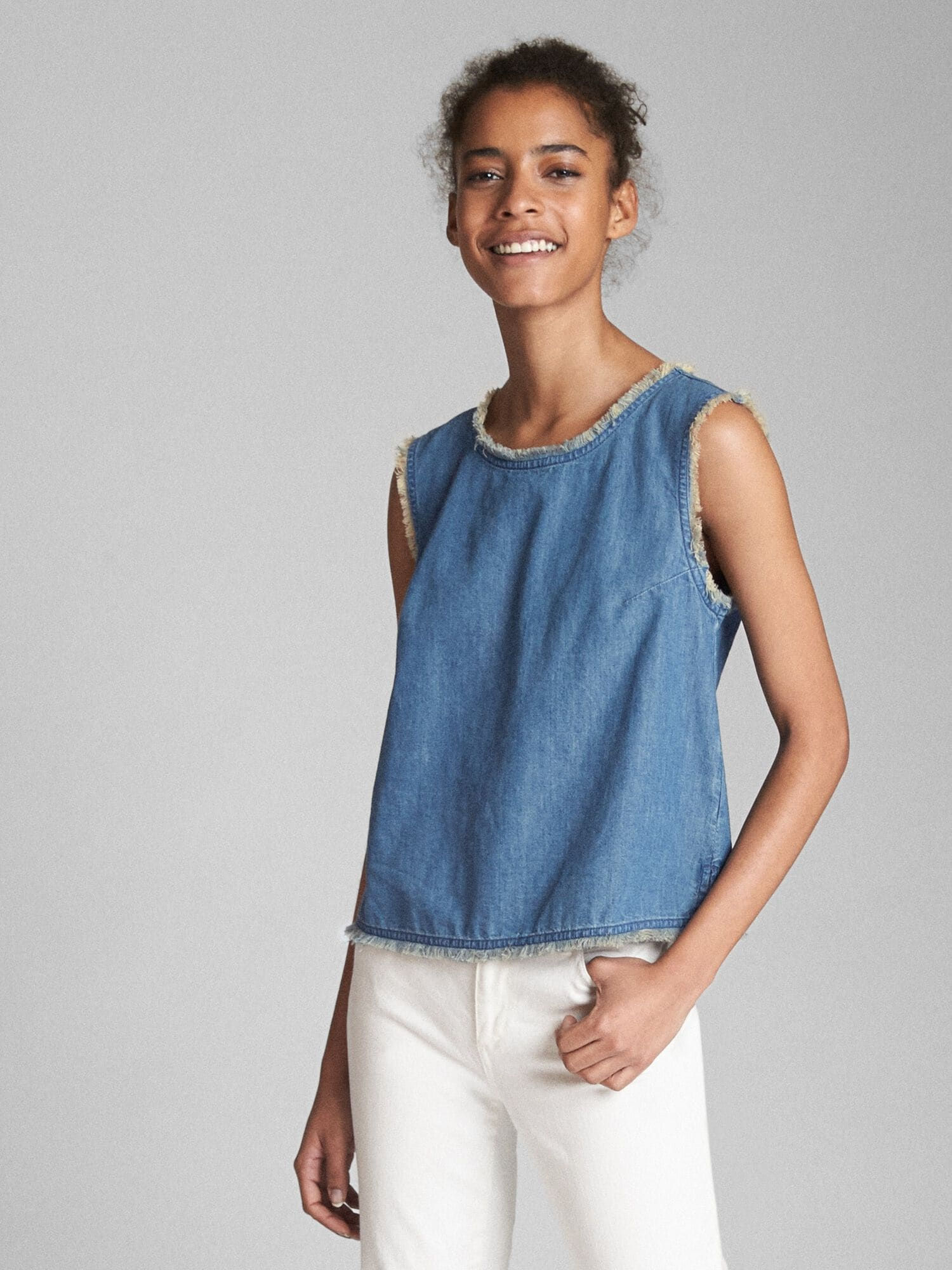 fd0d25db50 Sleeveless Denim Top with Frayed Detail