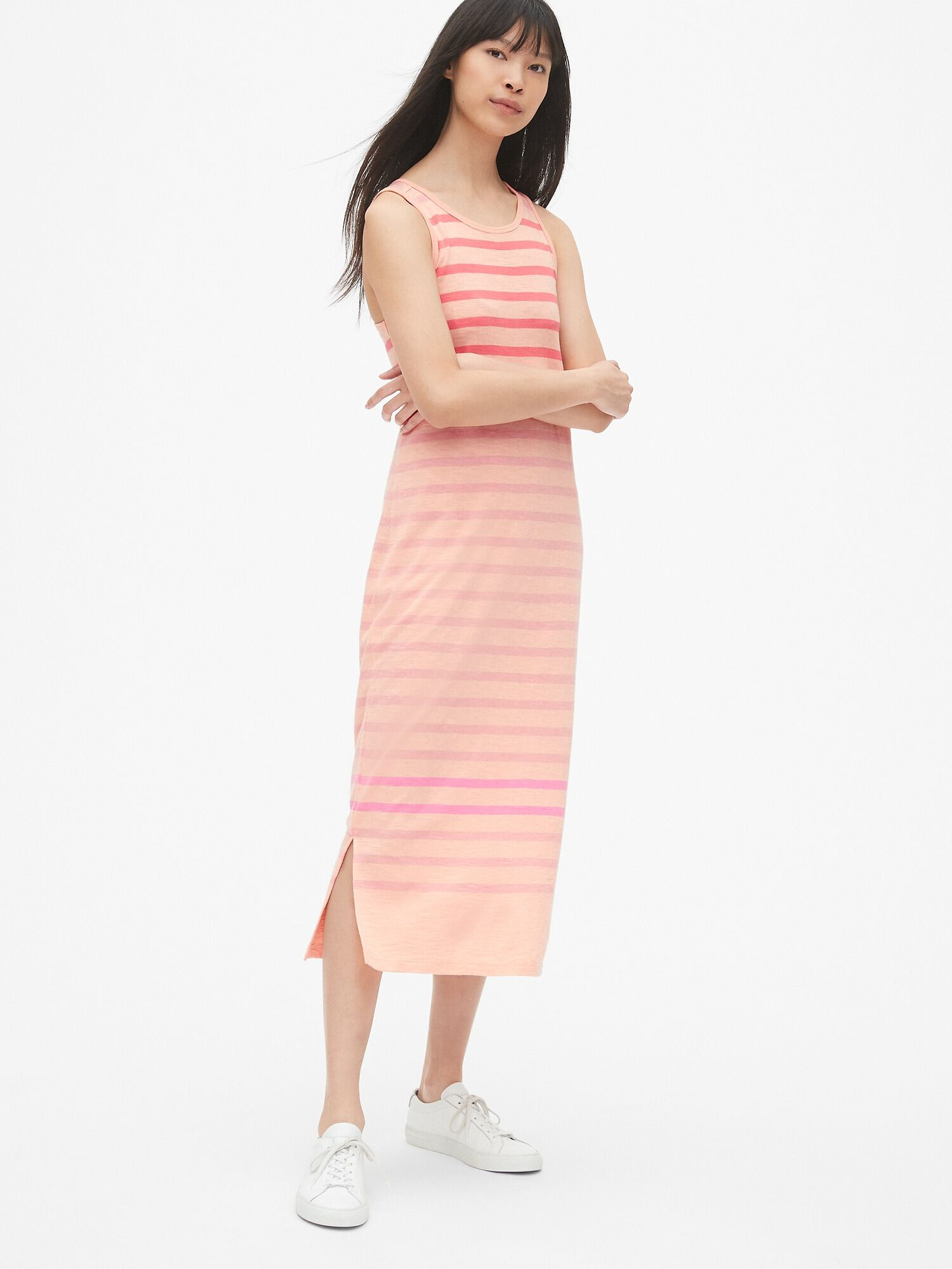9b2c1311b0 Soft Slub Stripe Tank Midi Dress