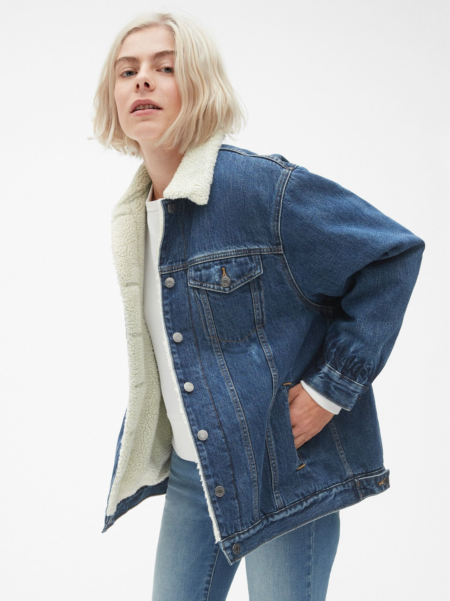 1d0a6087177 Oversized Sherpa-Lined Icon Denim Jacket