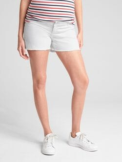 4e176bd122b2 Maternity Inset Panel Denim Shorts with Distressed Detail