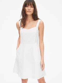 b6b927fd19 Fit and Flare Cami Dress in Linen-Cotton