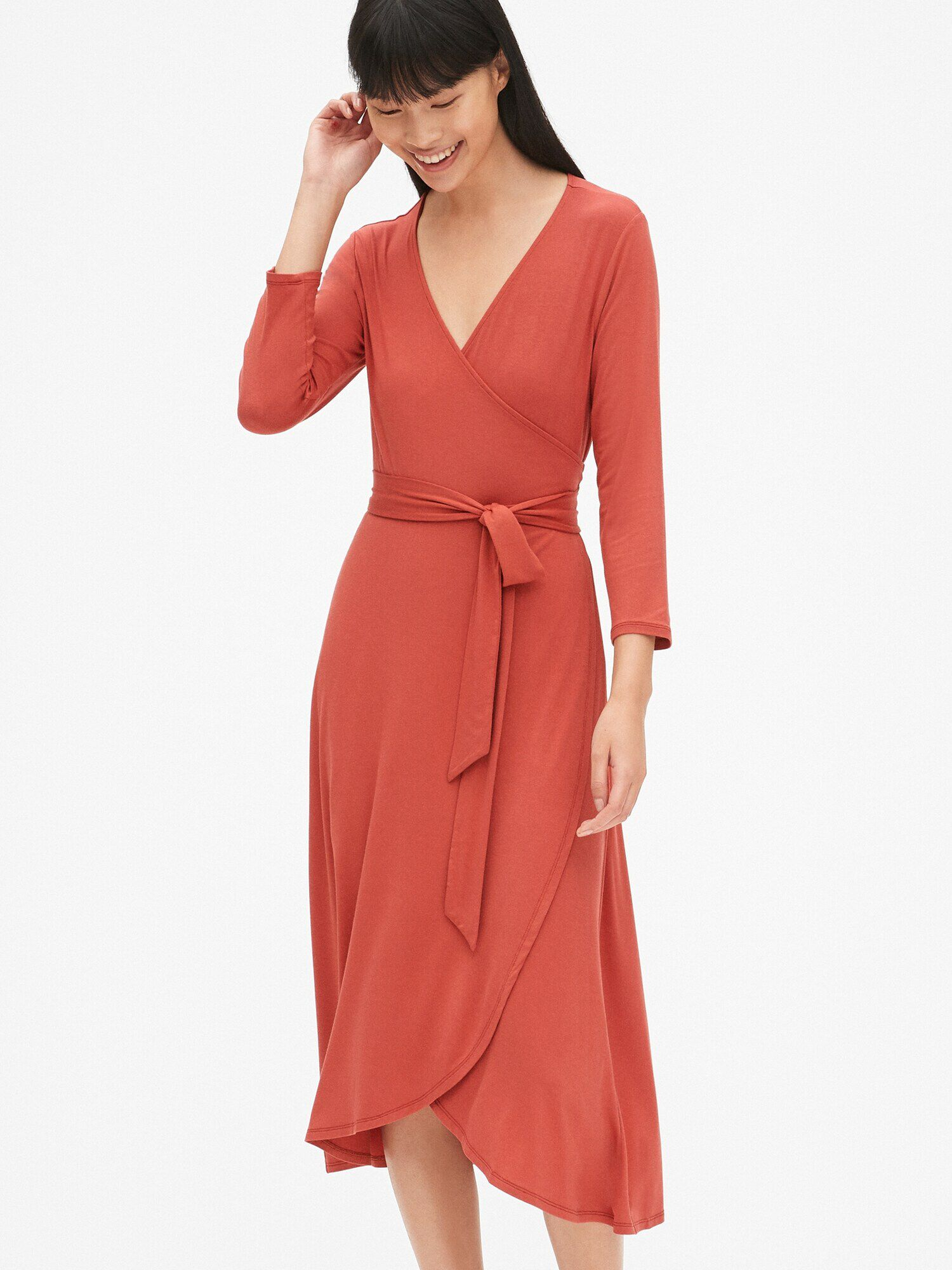 59917366d Three-Quarter Sleeve Knit Midi Wrap Dress | Gap® UK