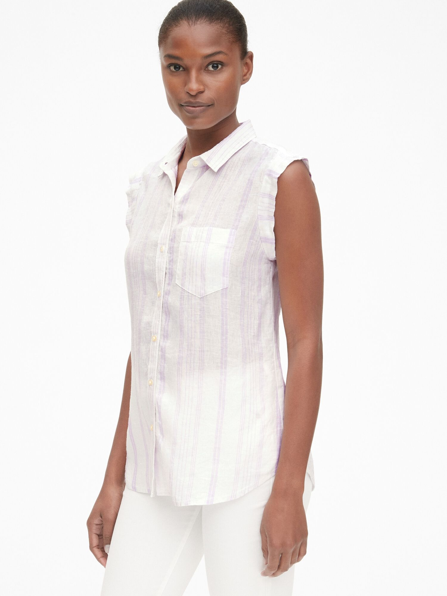 780d7f19e3b Sleeveless Button-Front Shirt in Linen