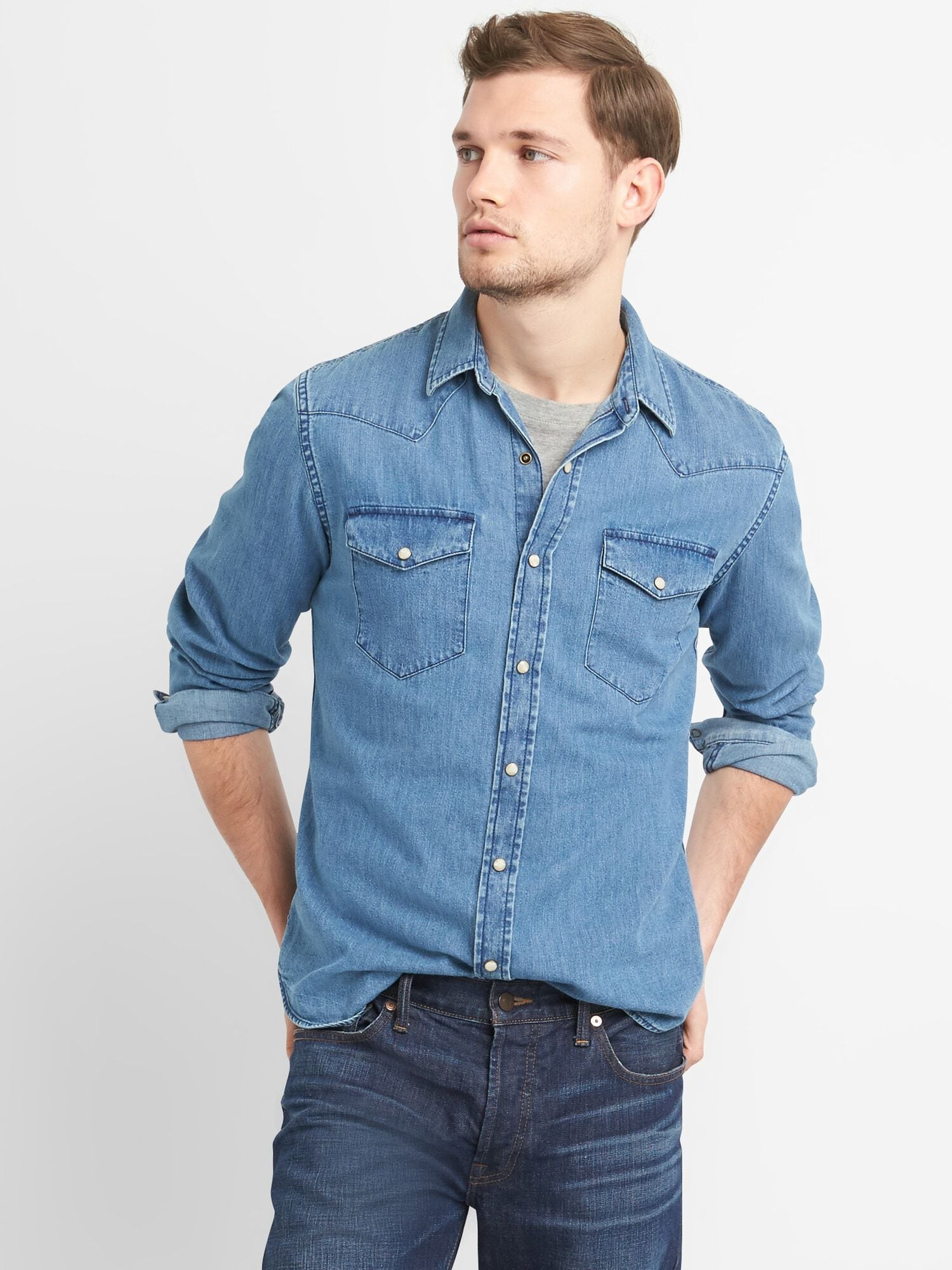 f563d21961b Denim Western Shirt in Slim Fit