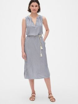 95c0c5c3d773 Stripe Split-Neck Midi Shirtdress with Tassel Belt