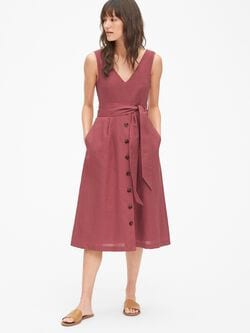 ef818f40cb Sleeveless Button-Front Midi Dress in Linen