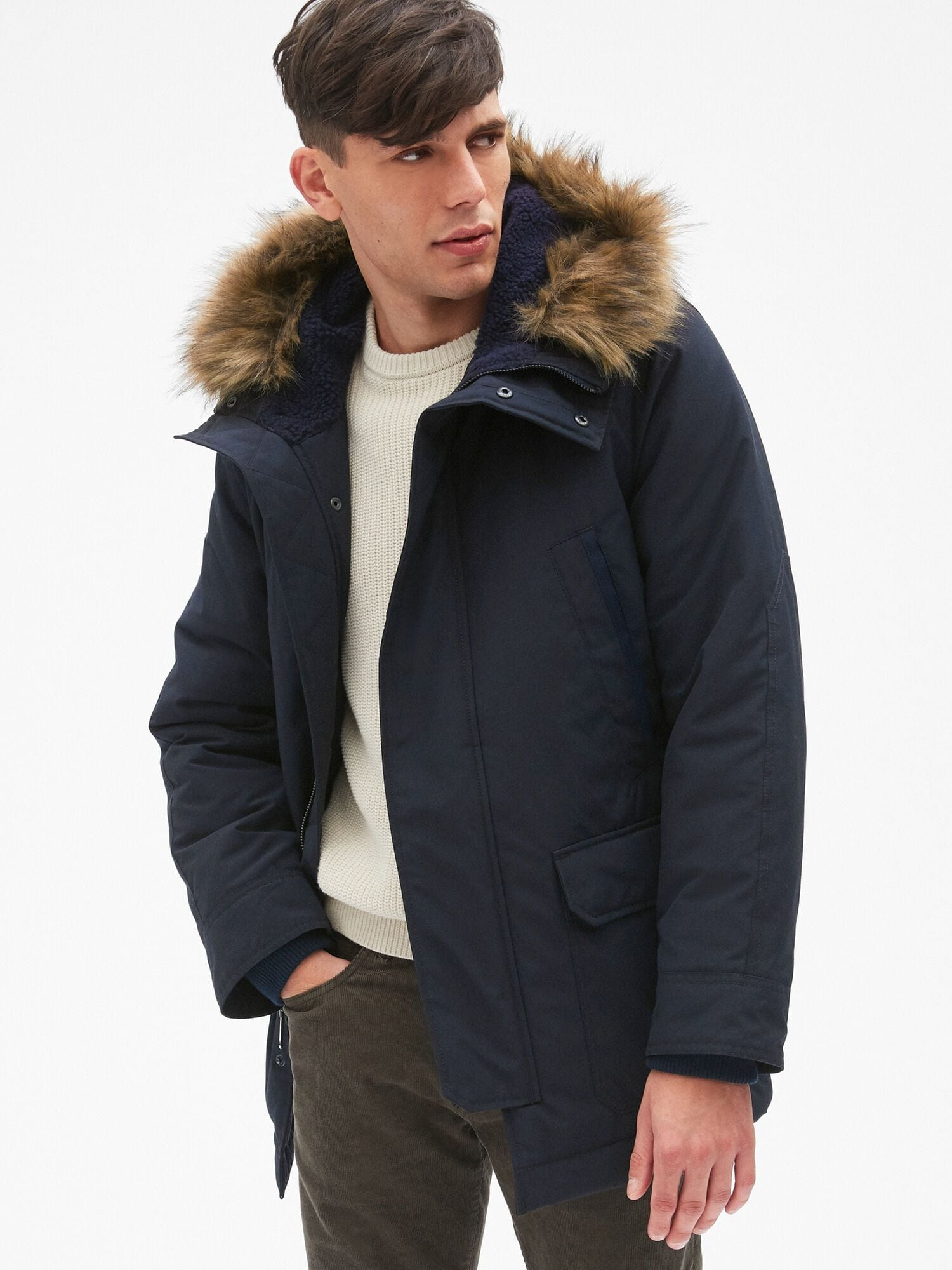 623f5f07d Hooded Parka Jacket with Faux-Fur Trim
