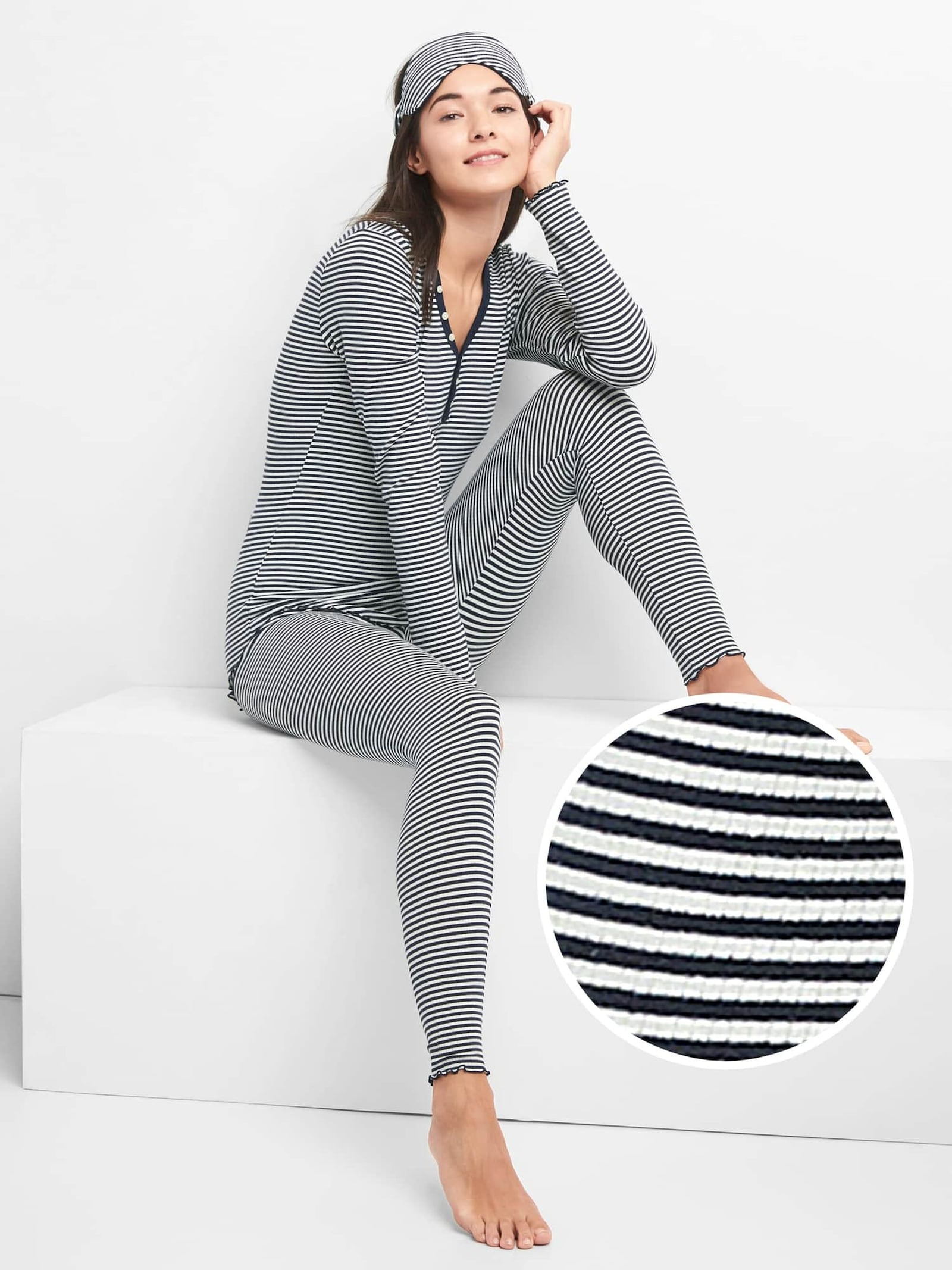 Gap Ribbed PJ Set with Eye Mask