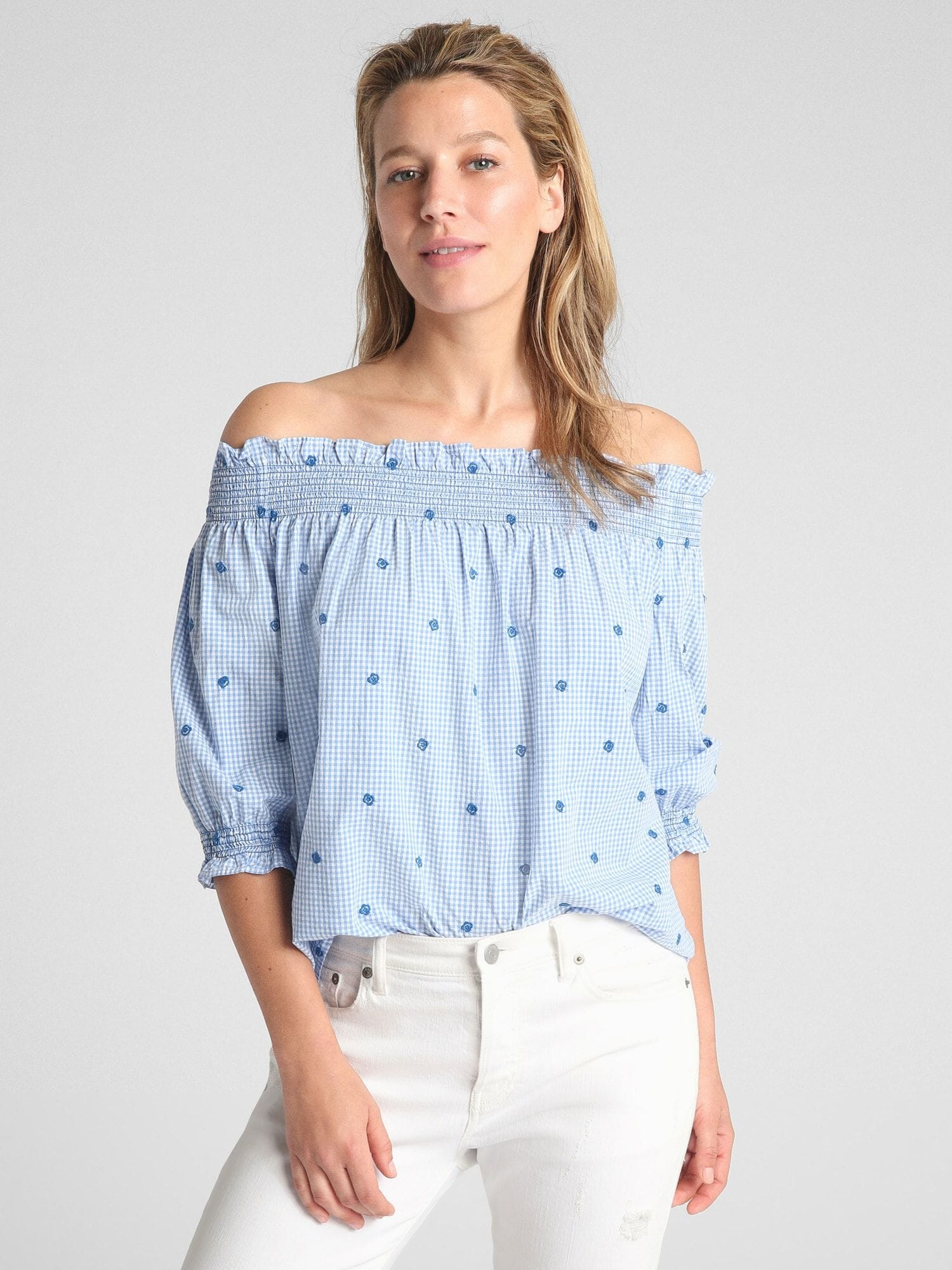 b5a051a148a Smocked Off-Shoulder Top in Poplin | Gap® UK