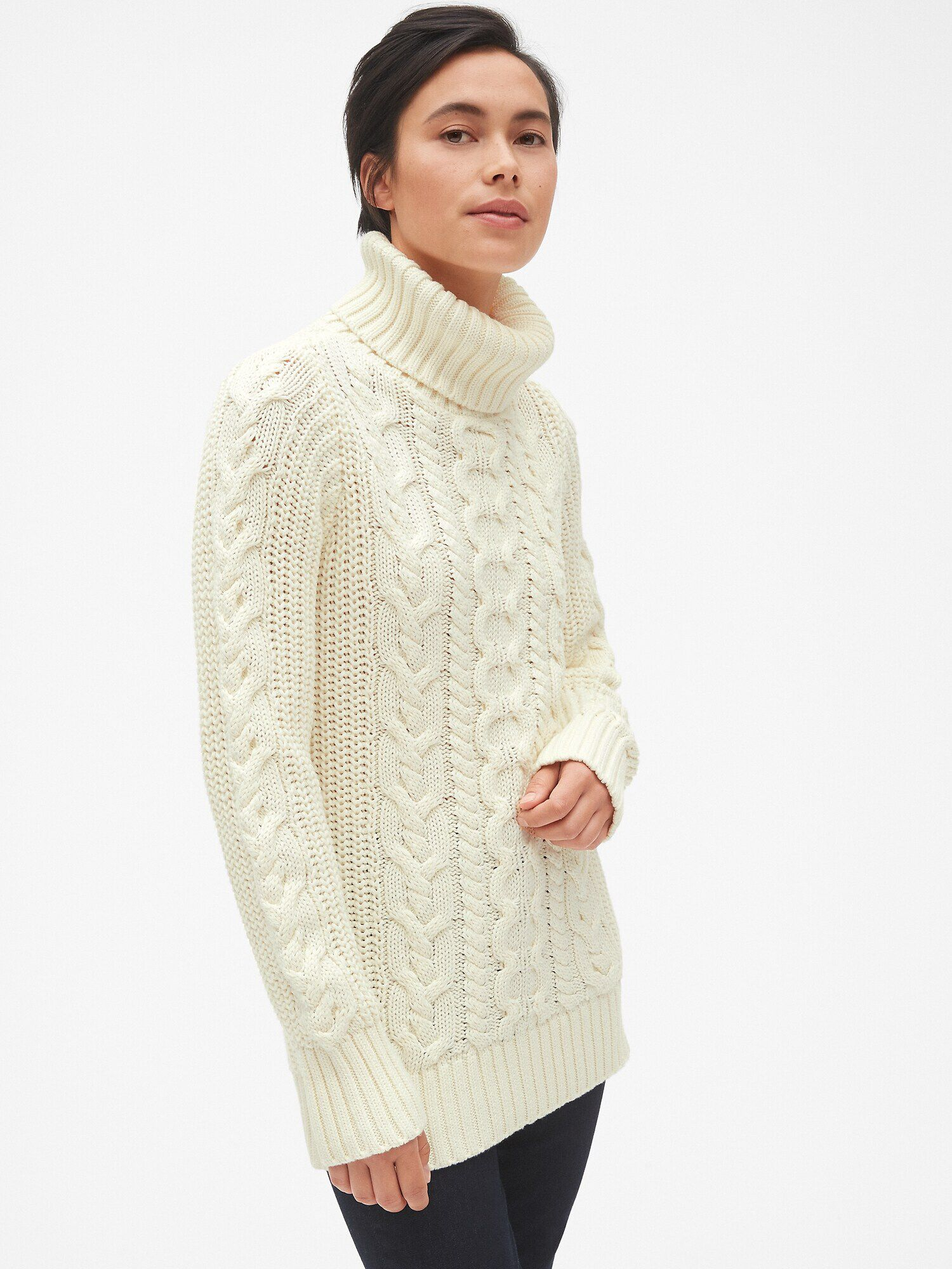 73ca1469d7a2b Cable-Knit Turtleneck Tunic Sweater