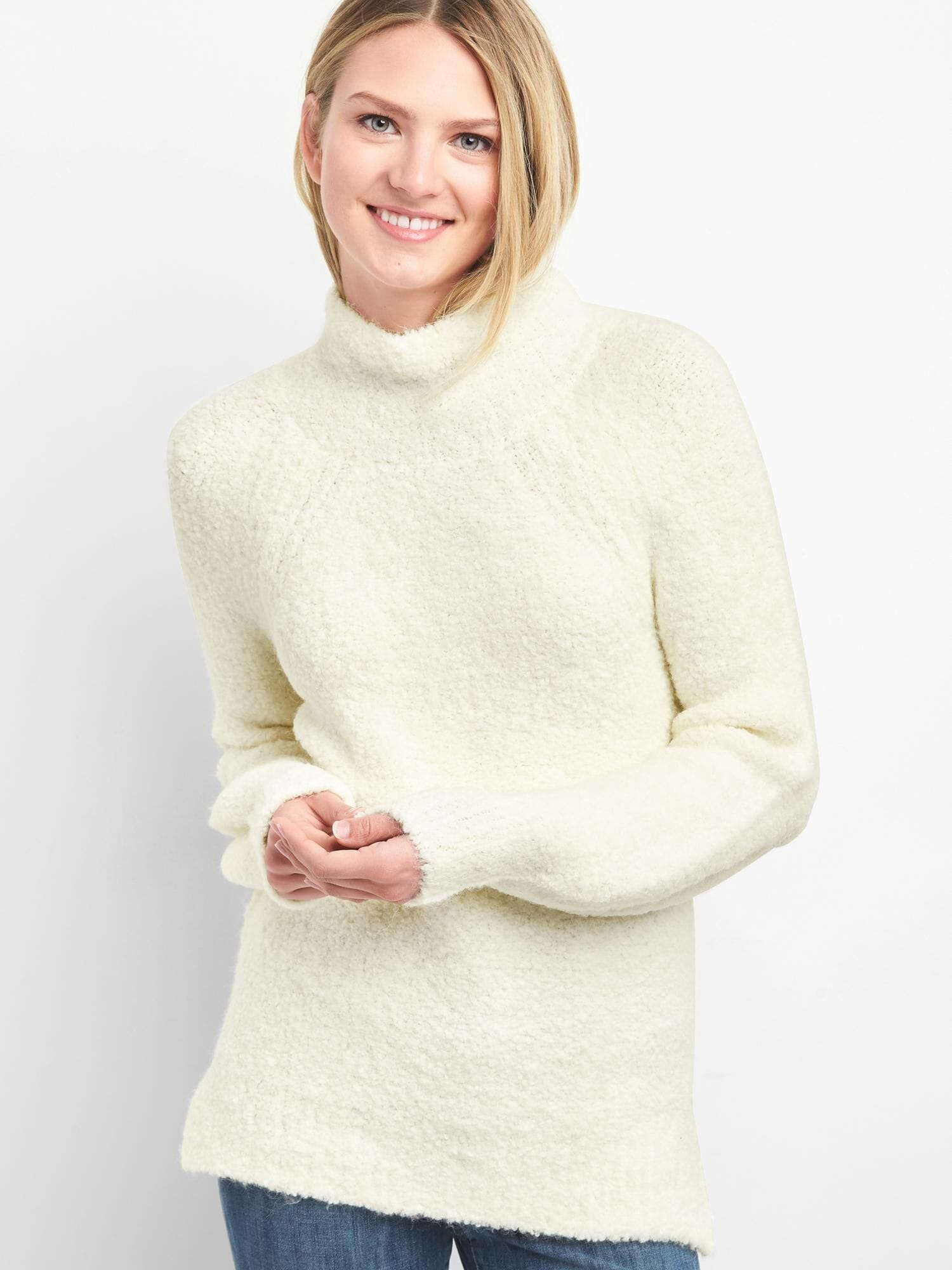 deaacc470fdb Boucle Funnel-Neck Pullover Sweater