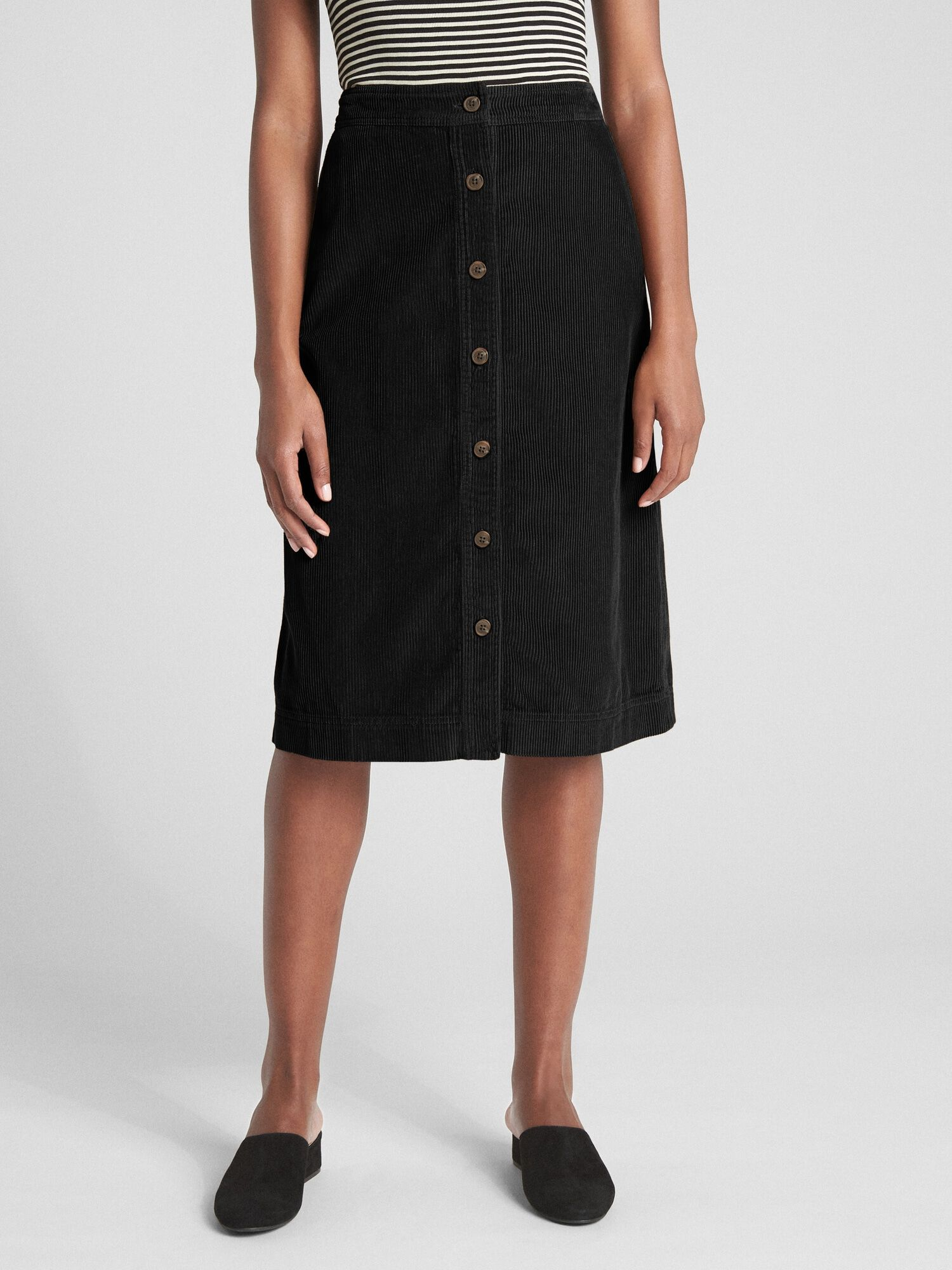 4dd8f7ee3ac41a Button-Front Cord Midi Skirt | Gap® UK