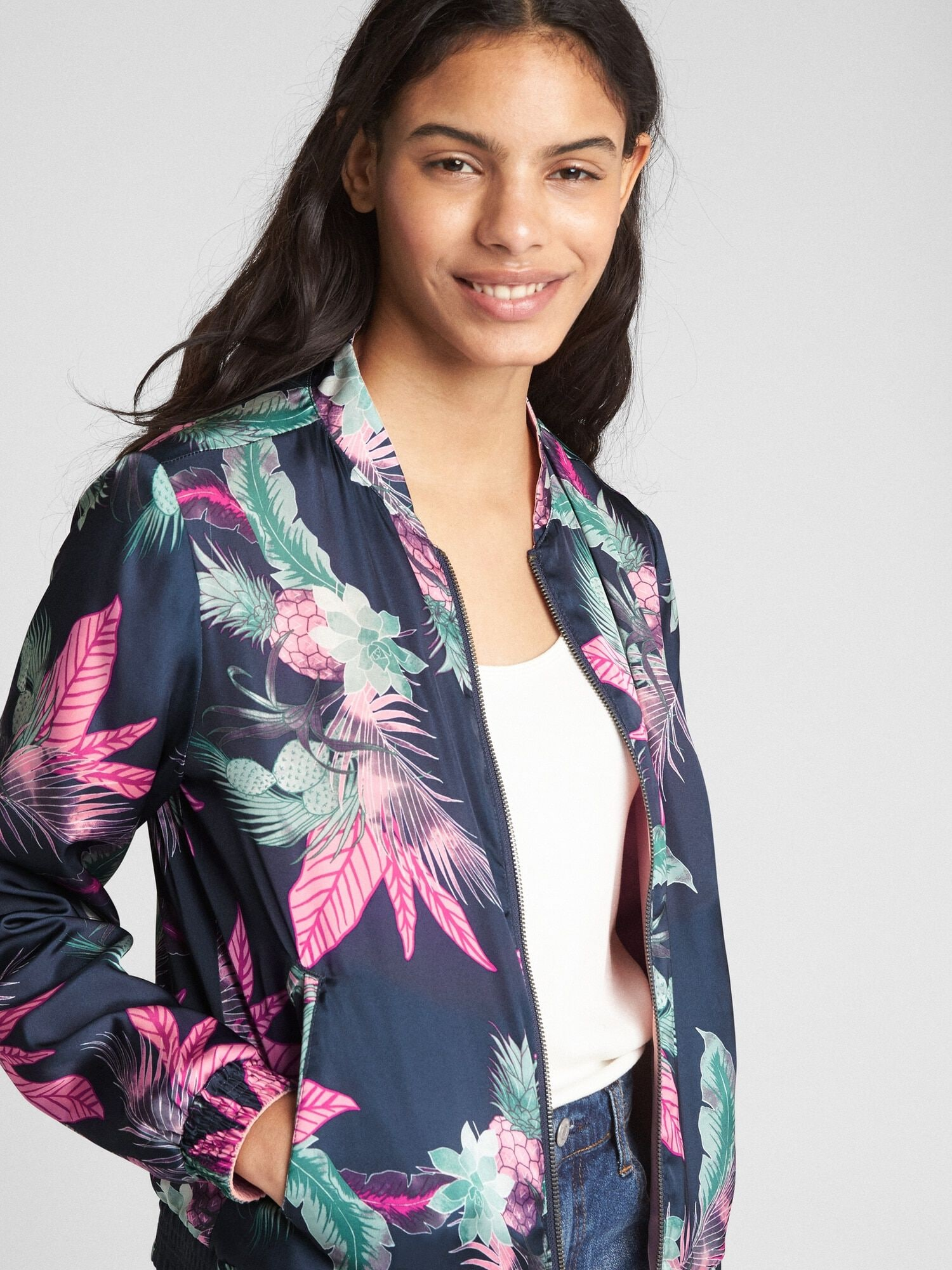 80f962a05 Reversible Floral Print Bomber Jacket