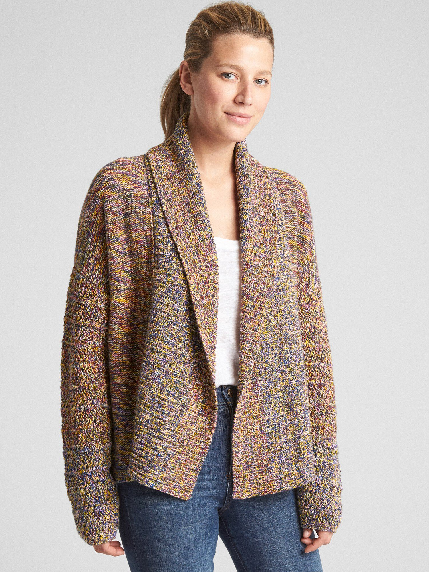 024a6e536 Open-Front Textured Shawl Collar Cardigan Sweater