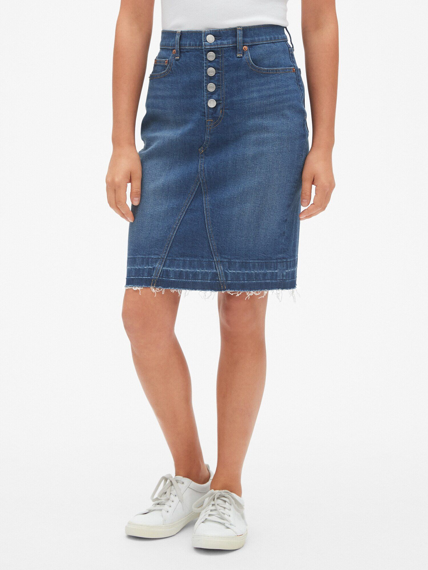 a7d68648a4 High Rise Button-Fly Denim Pencil Skirt with Raw Hem | Gap® UK