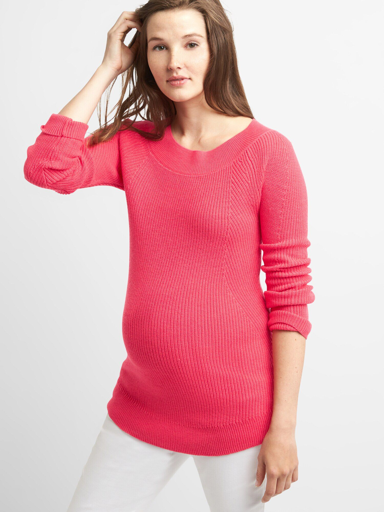 c54a5e9d4 Maternity Ribbed Pullover Boatneck Sweater Tunic