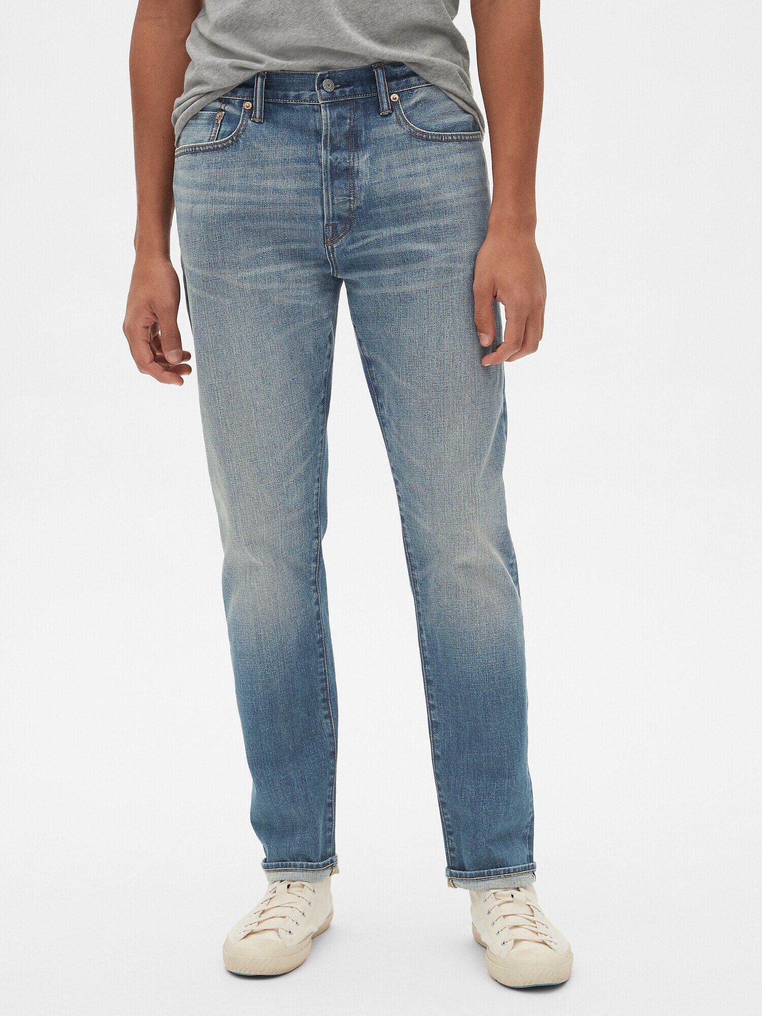 Selvedge Athletic Taper Jeans with GapFlex