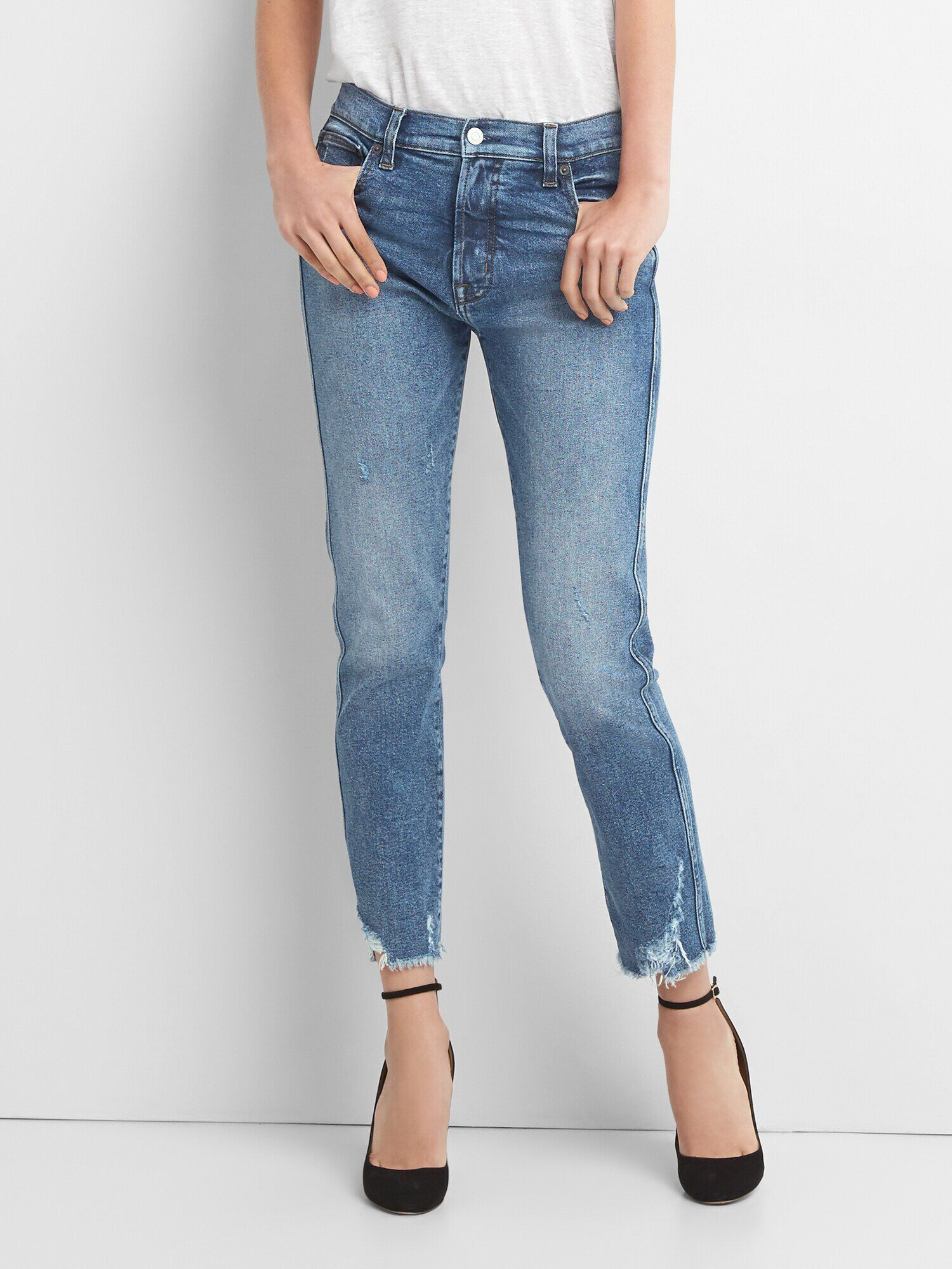 f44873b735301 High Rise Slim Straight Jeans with Distressed Detail