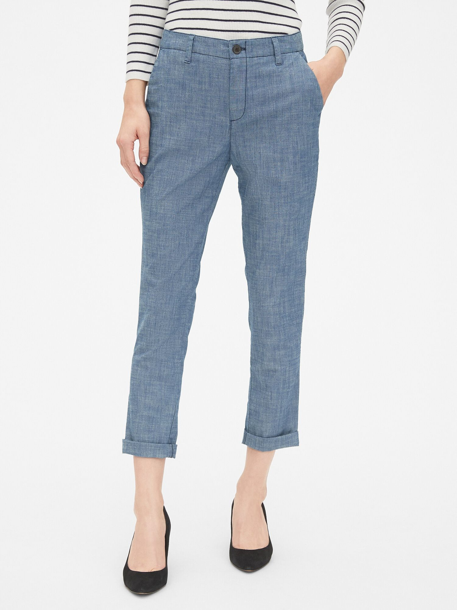 7032f149766 Girlfriend Chinos in Chambray