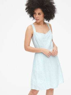 3eb91ad3d2 Fit and Flare Stripe Cami Dress in Linen-Cotton