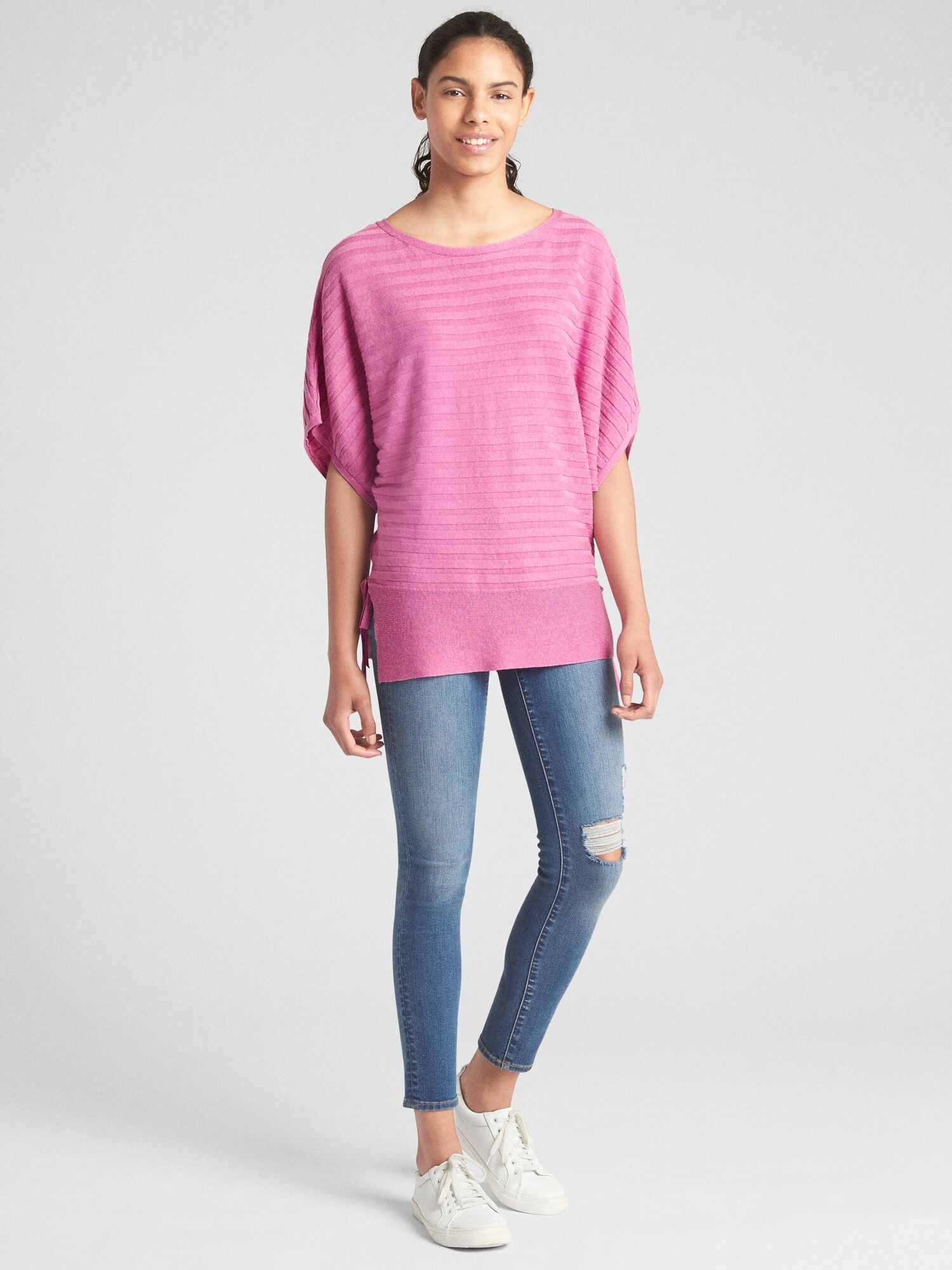 99dec8f6f Ribbed Short Sleeve Side-Tie Pullover Sweater