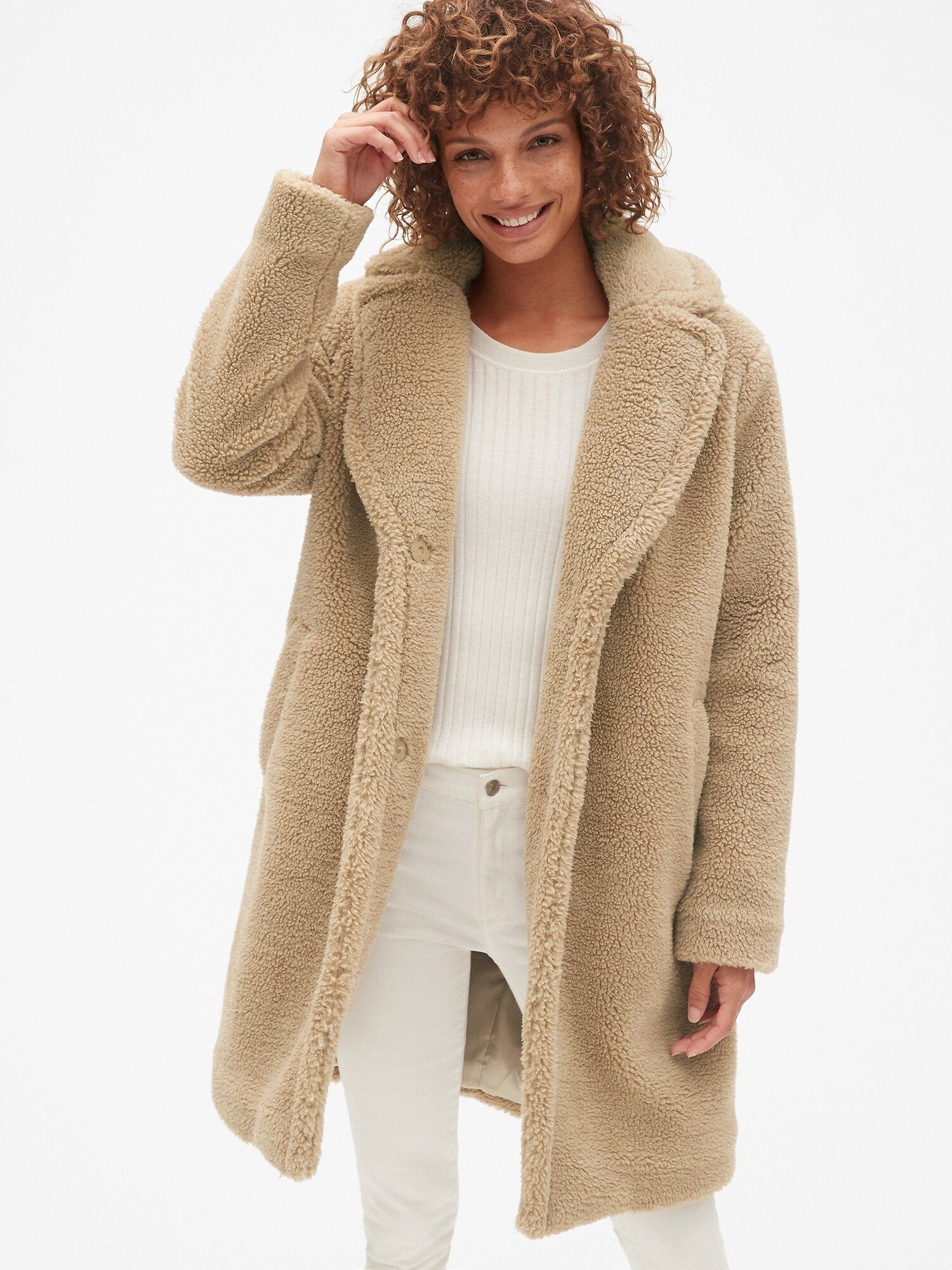 cheap for discount free delivery official photos Long Teddy Coat | Gap® UK