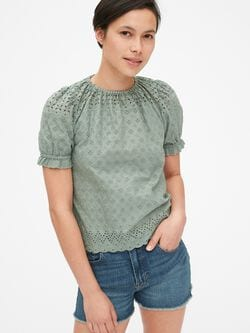 e234059ffc700e Eyelet Embroidered Puff Sleeve Top