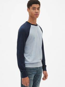 Crewneck Pullover Sweater in Linen-Cotton 49c8a4071