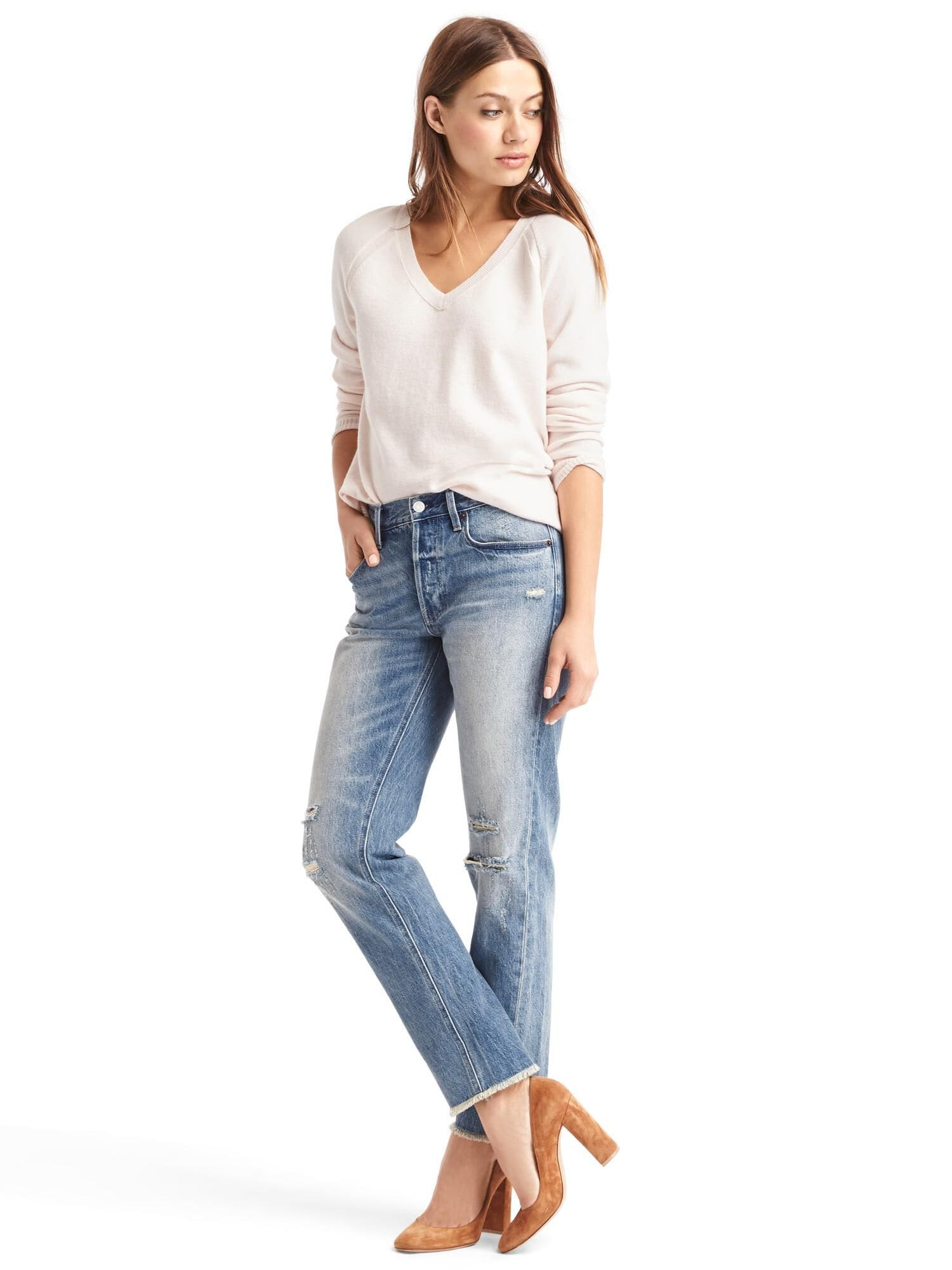 Mid Rise Destructed Vintage Straight Jeans Gap Uk Shoes 12 Girl Product Image Is Missing