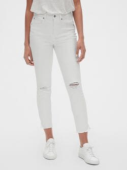 15a4d02ef2c0 High Rise True Skinny Ankle Jeans with Distressed Detail