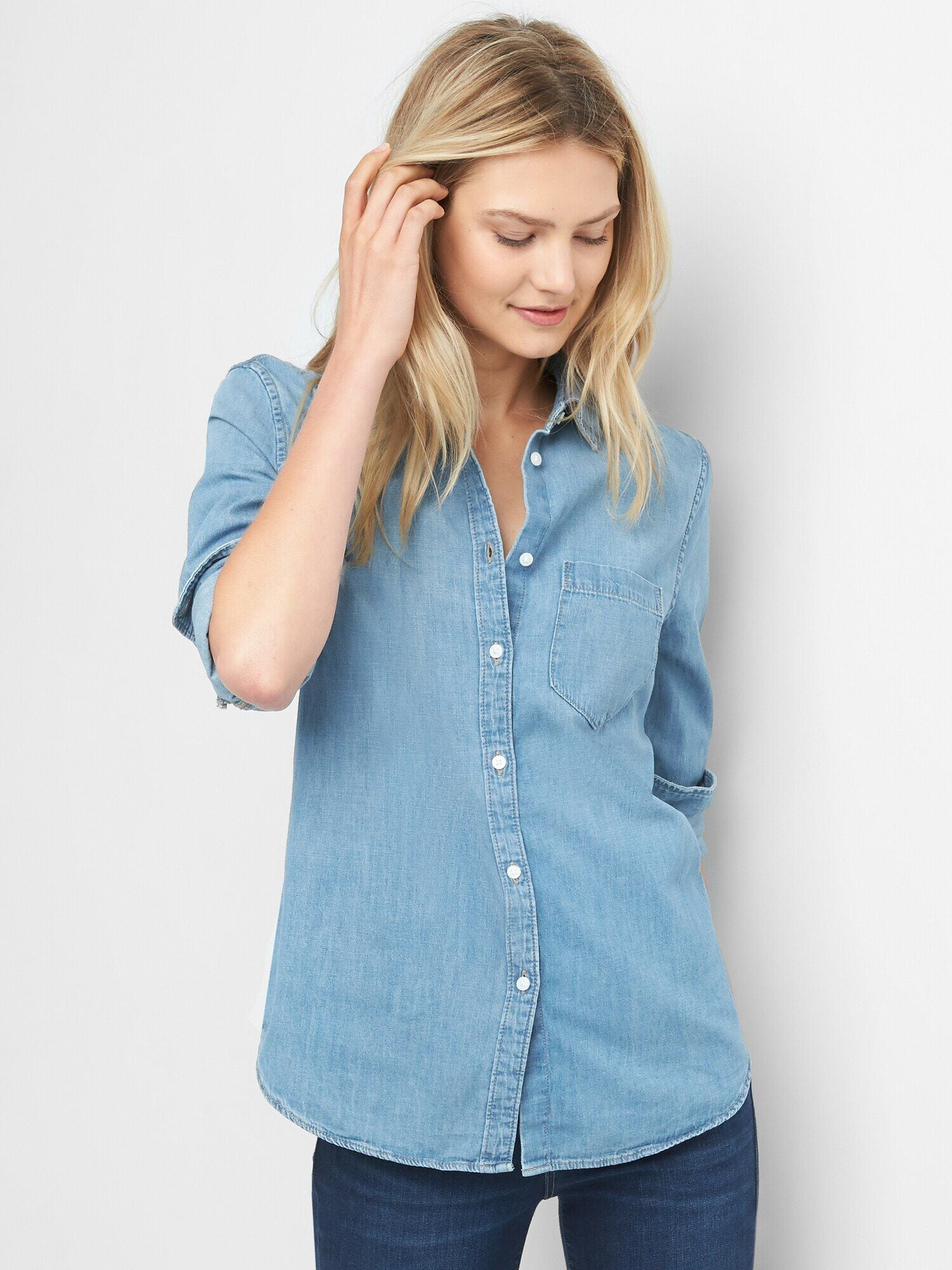 4a0aca280bb Denim Fitted Boyfriend Shirt