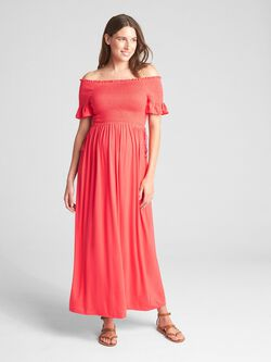 ac330efa138 Maternity Smocked Off-Shoulder Maxi Dress