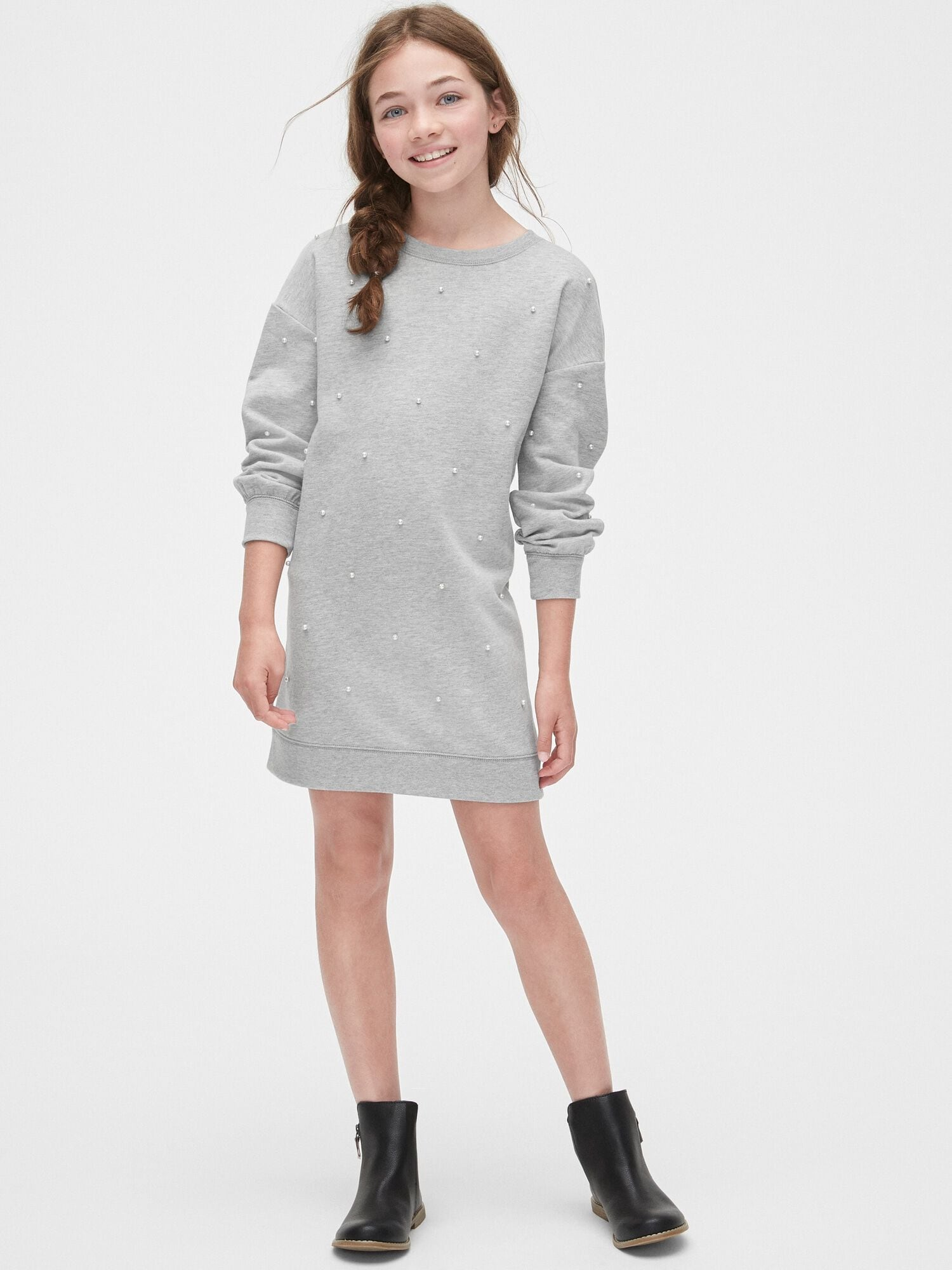 Pearl Applique Sweater Dress