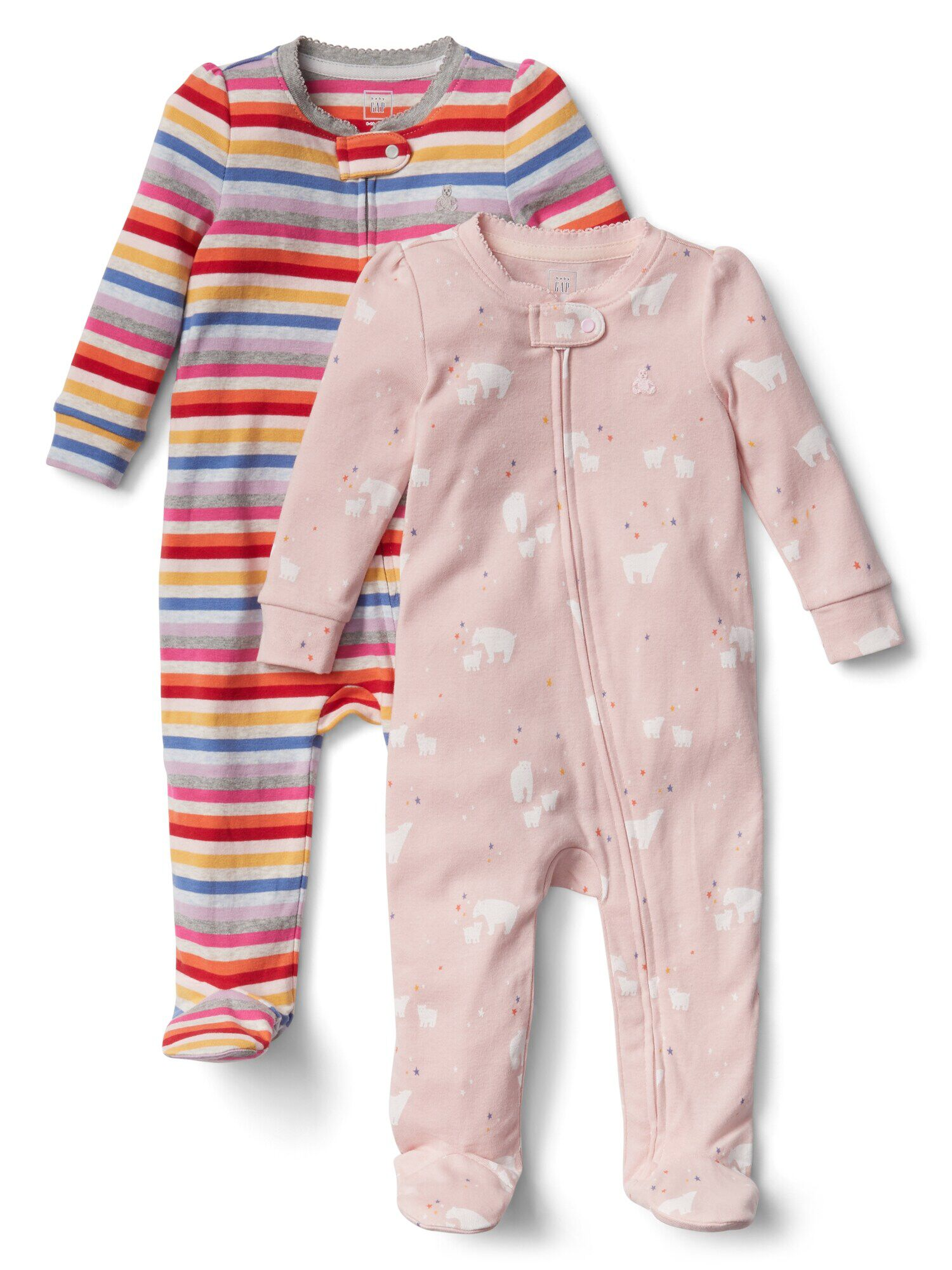 2043111cf Crazy stripe footed one-piece (2-pack)
