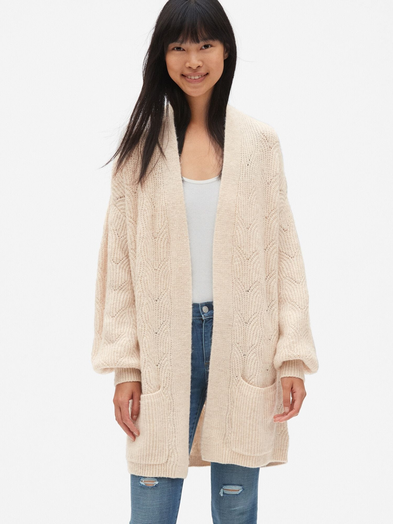 49c63474f34 Brushed Pointelle Open-Front Cardigan Sweater