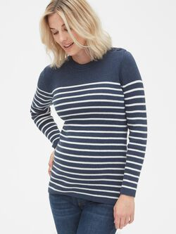 6a0025d91145 Maternity Stripe Button-Shoulder Pullover Sweater