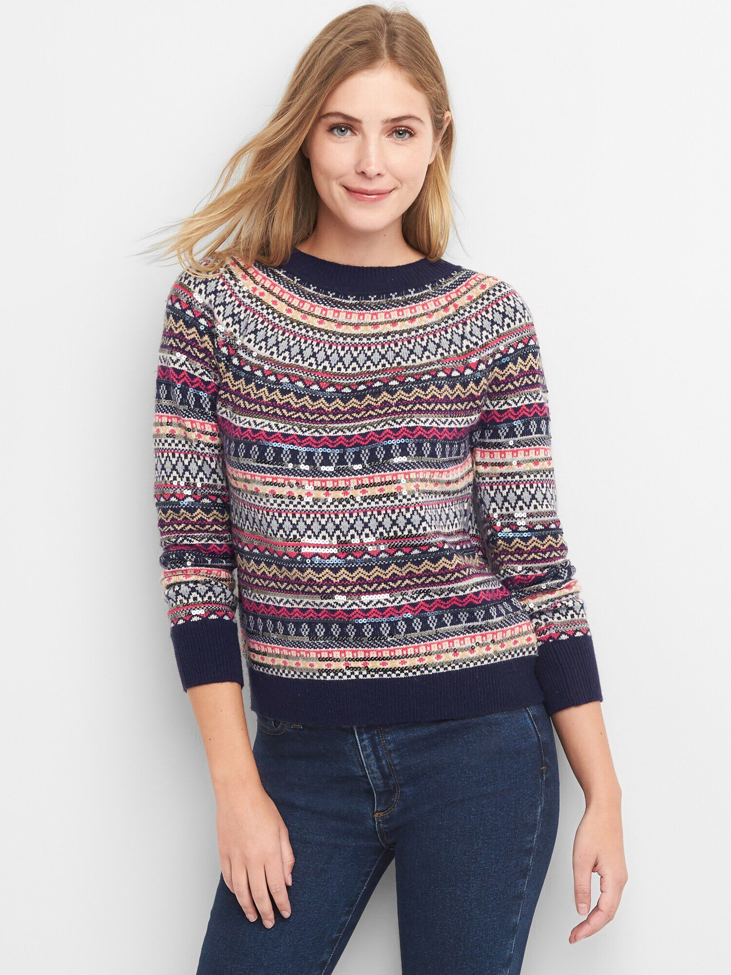 7d7728096 Limited Edition sequin fair isle pullover sweater