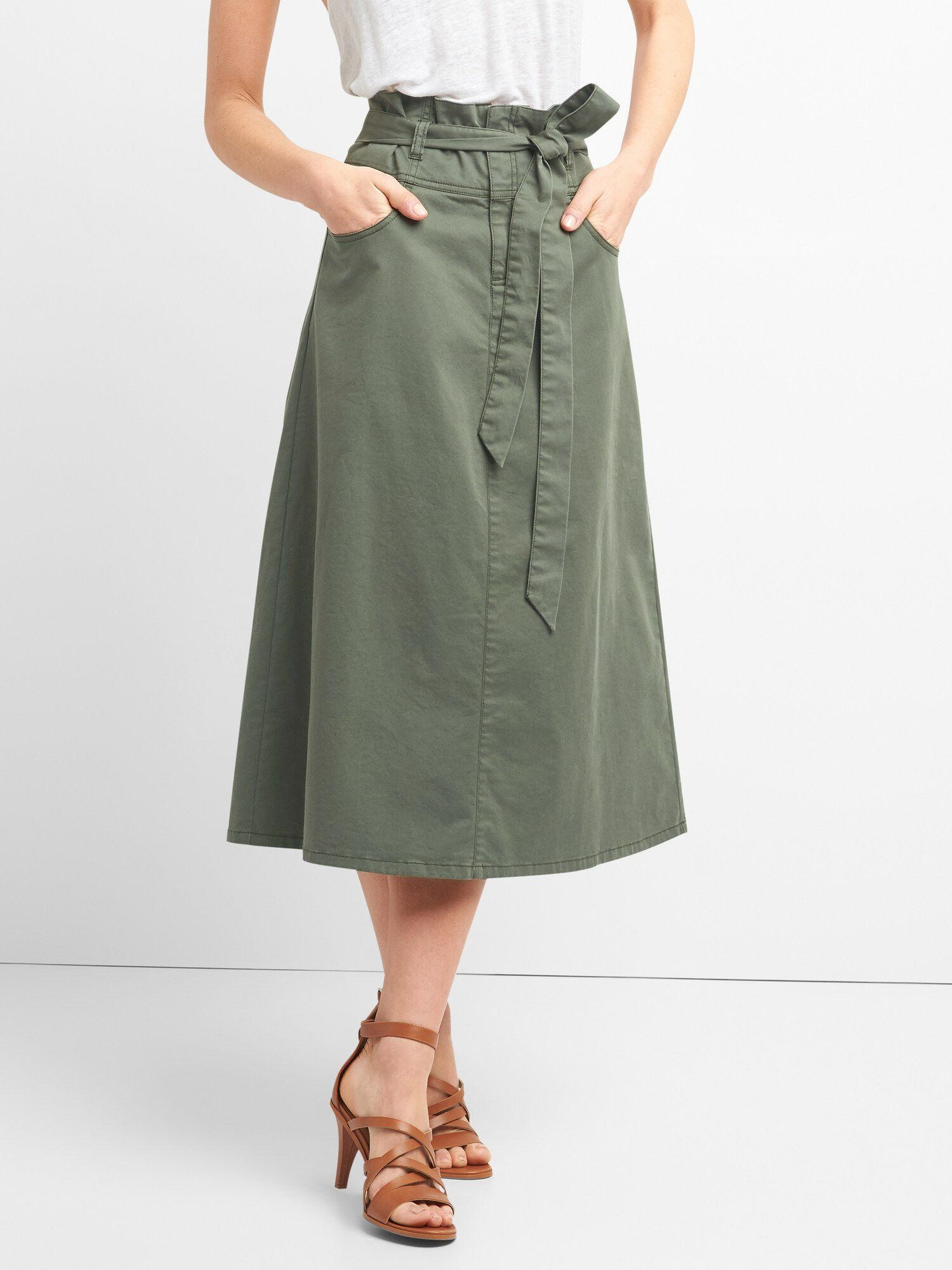 887d91354 Paperbag Waist Utility Midi Skirt with Tie-Belt | Gap® UK
