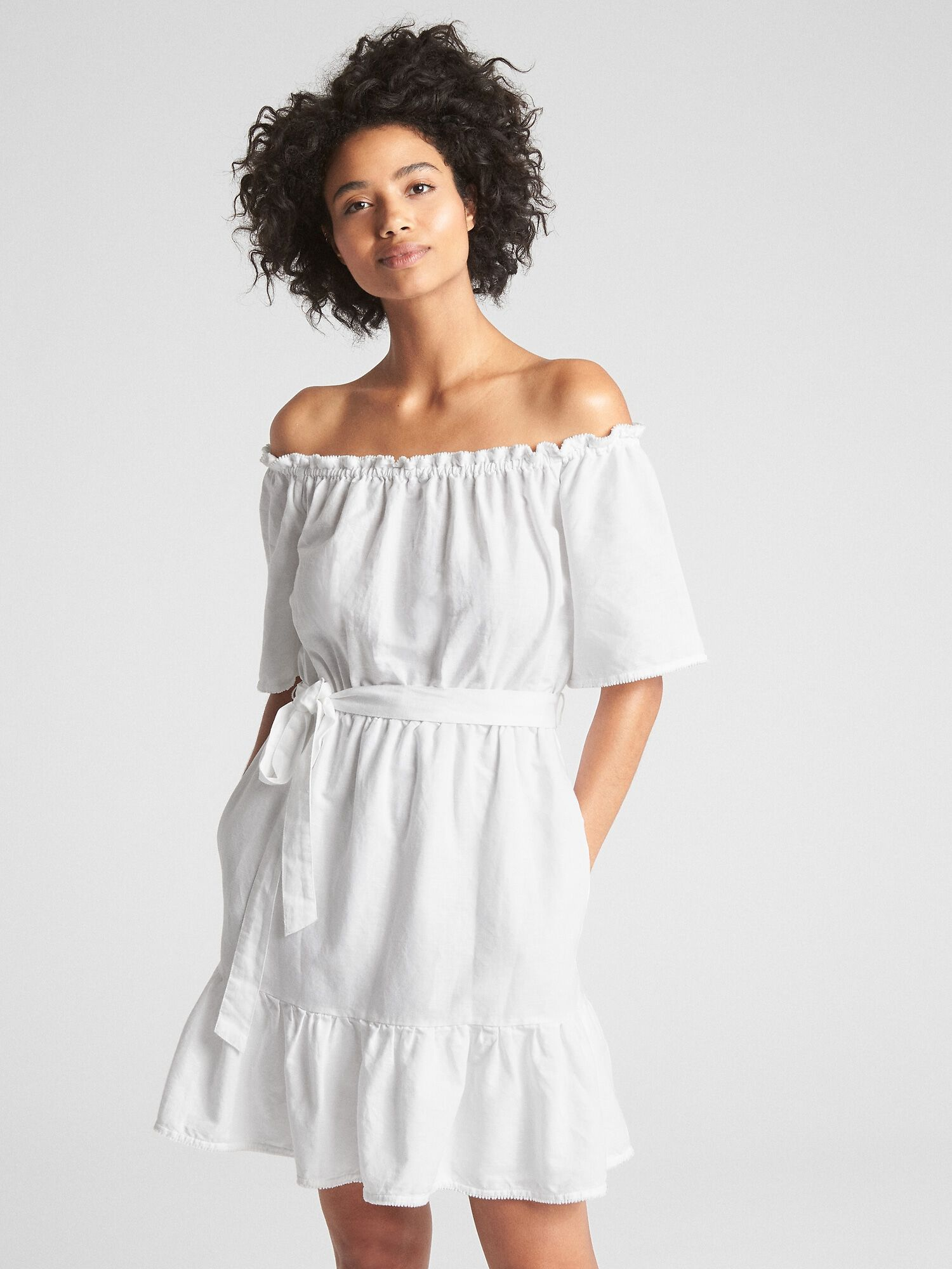 e4865babb7 Off shoulder tiered ruffle dress in linen cotton gap jpg 1500x2000 Off  shoulder linen dress