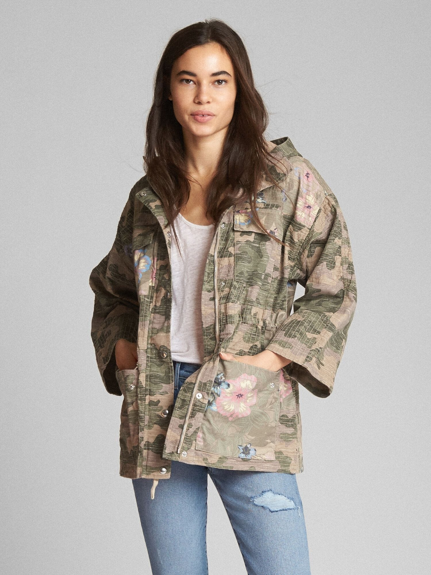 57f6bf04c Limited Edition Camo and Floral Print Hooded Utility Jacket