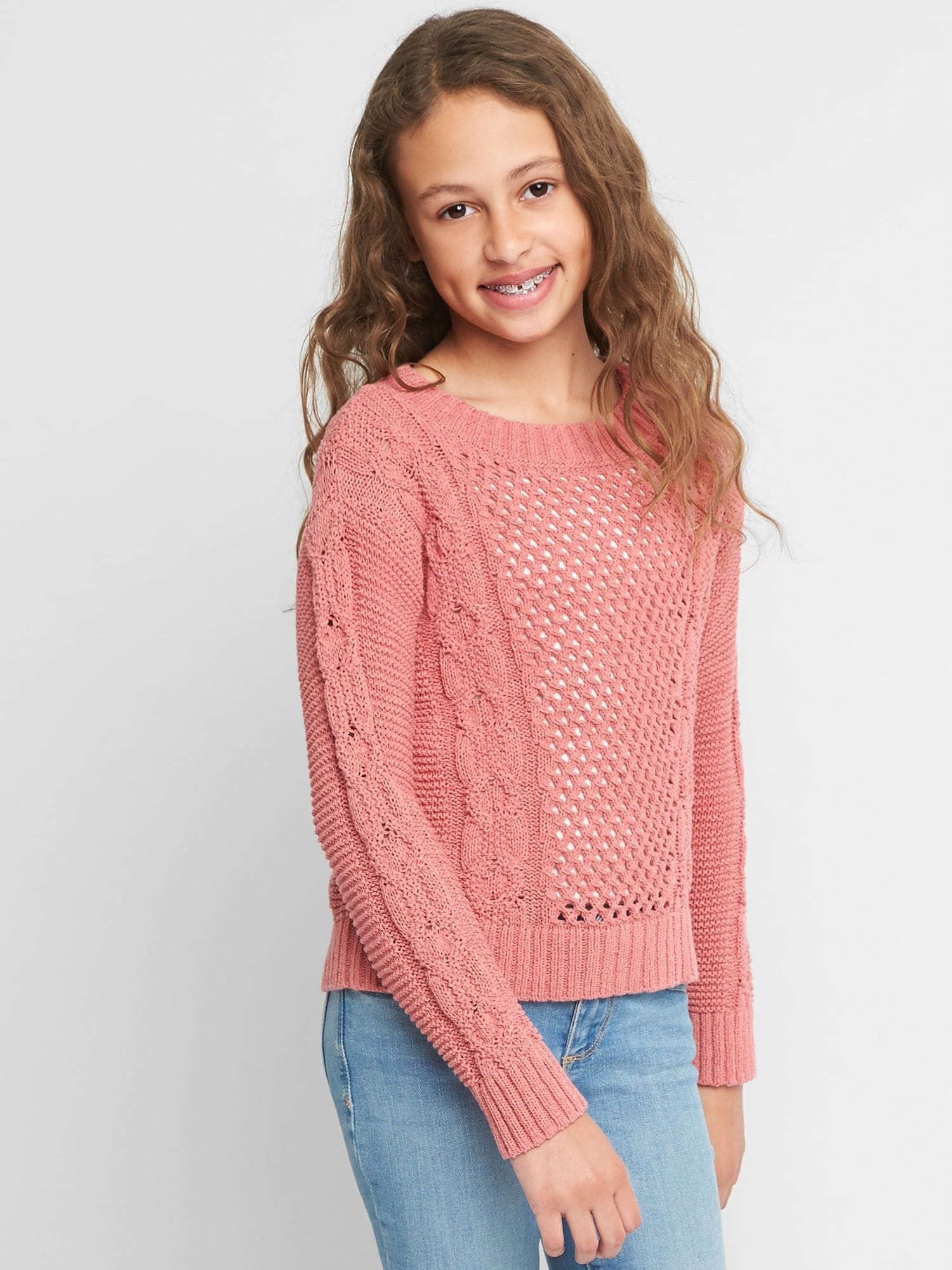 b93405395a0 Cable-Knit Textured Sweater