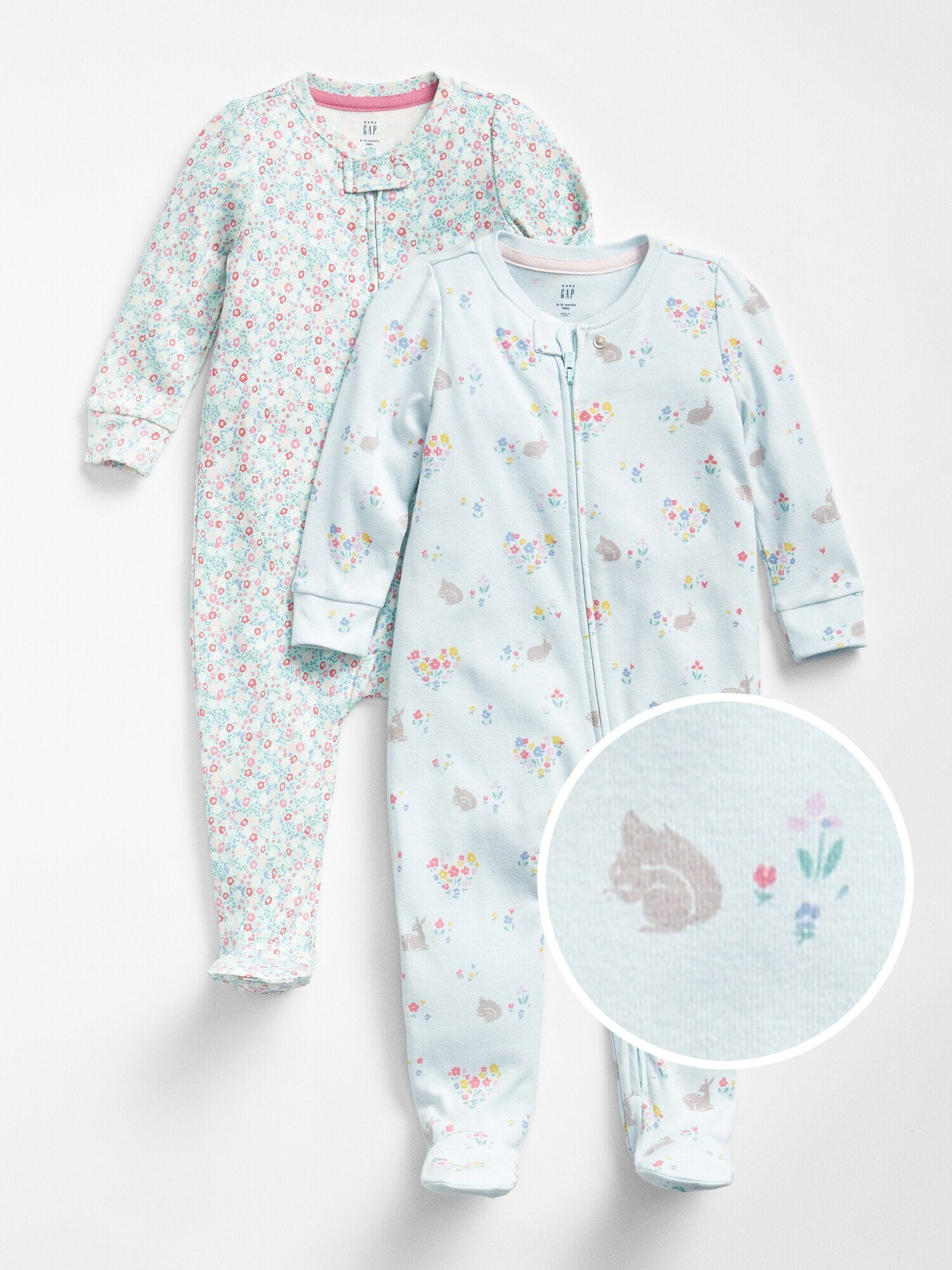 c6cde328f First Favorite Bunny Floral Footed One-Piece (2-Pack)