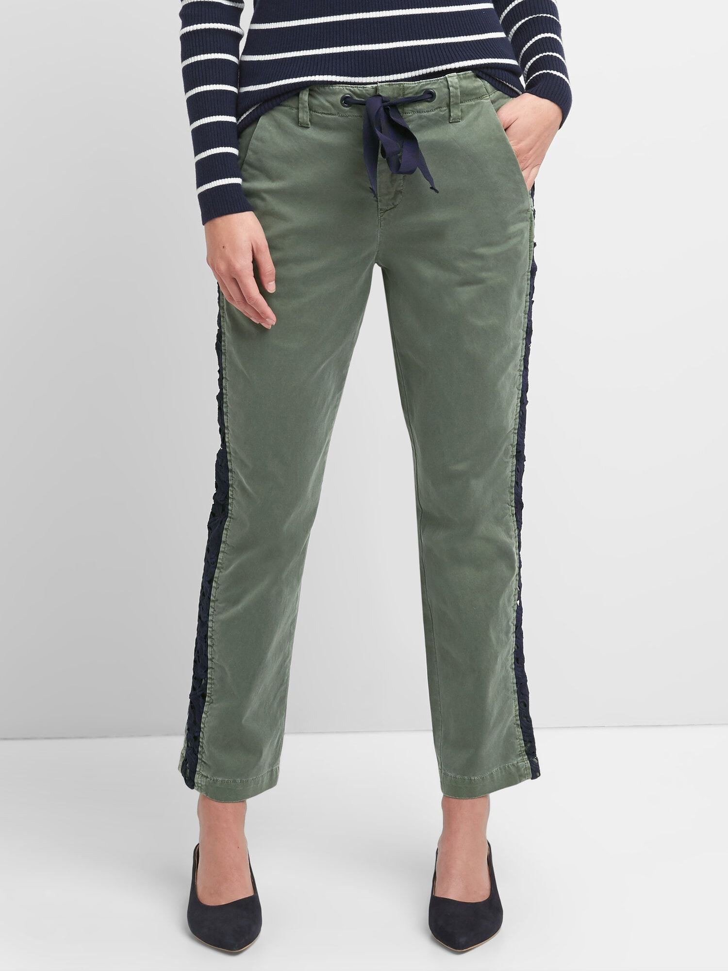 a095b988b4a Girlfriend Chinos with Side Lace Detailing