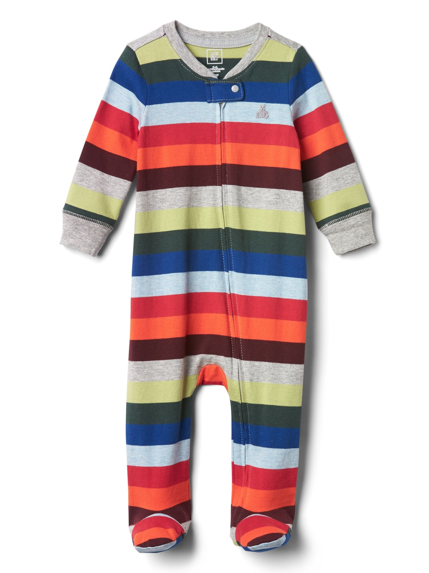 afa005e29 Crazy stripe zip footed one-piece