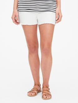 b993eee7c15a Maternity Inset Panel Denim Shorts with Raw Hem