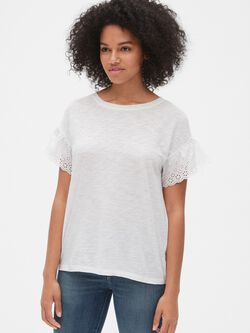 4d2af0bc Eyelet Embroidered Ruffle Sleeve T-Shirt